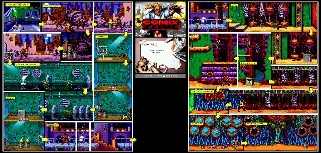Full screenshots of the levels for Comix Zone ( SMD )
