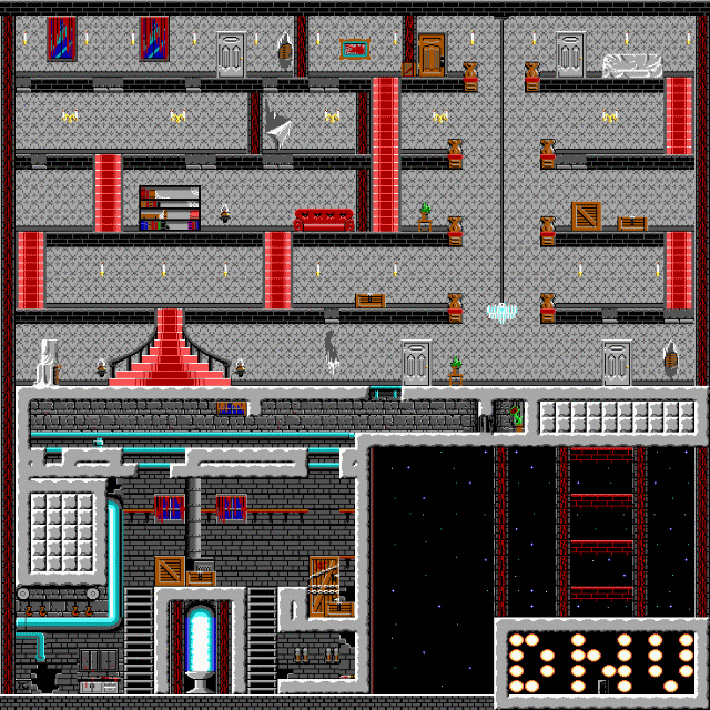 Full screenshot of the level for Dangerous Dave 2 –