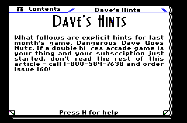 Dave Goes Nutz! – Hints ( Apple II )